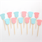 Baby Onesie Cupcake Toppers for Baby Shower - Blue and Pink Set of 12