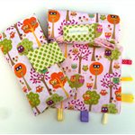 Nappy Diaper Change Mat with Nappy Wallet and Tag Blankie Pink Owls