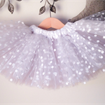 Precious silver and white polka dot tutu. Newborn to 18 months(custom made).