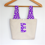 "Little Miss ""E"" Carry Bag & Snap Purse Set - Silver metallic spots on purple."