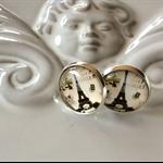 Cute Eifel tower earring glass stud with rubber backs studs Earrings Christmas