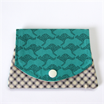 Pocket Purse - Jade Green Kangaroos with grey spotty dots.