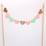 Cake Topper - Gold Glitter, Pink and mint love hearts