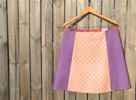 Orange and purple A line panel skirt