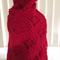 Red crochet woolen shawl