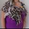 Naturals Hand Spun Hand Knit Bulky Art Yarn and Recycled Silk Collar Scarf