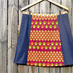 Purple, teapots & denim A line panel skirt