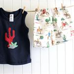 toddler shorts & singlet | cowboys & cactus | size 1