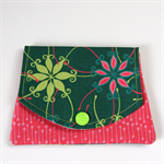 Pocket Purse - Grevillea Flowers on Forest Green with Pink Bush Sticks.