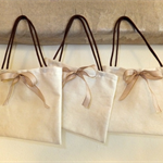 Fabric Gift Bag French Ribbon Beige Gingham Bow