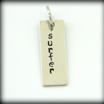 """""""surfer""""  personalised hand stamped stainless steel pendant (rectangle shape)"""