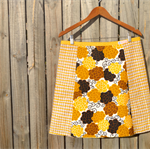Vintage yellow flowers A line skirt