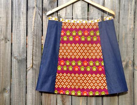 Purple, teapots & denim A line skirt