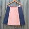 Orange geometric & denim A line panel skirt
