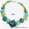 Green Frogs -  Aqua Teal Buttons Necklace  - Jewellery - Bonus Earrings