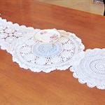 Paulette Table Runner Vintage Doilies White Cream Beige Crochet