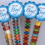 8 Pack Baby Boy Shower Lolly Tube Party Favour #LT0005