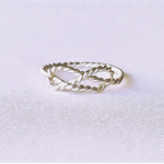 Twisted infinity ring, sterling silver love knot ring
