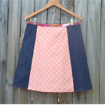 Orange geometric & denim A line panel skirt