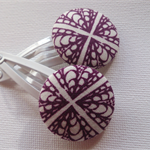 Purple and White Pattern  Hair Clips