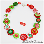 Christmas Mix red white green Button Necklace - Button Jewellery - Earrings