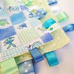 BLUE PATCHWORK HOOTY OWLS Security Blanket Blankie Taggie Toy + Taggie Saver