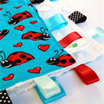 FREE POST ~ LADYBUG Baby Security Blanket Blankie Taggie Toy + Free Taggie Saver