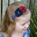 Headband - Navy & Burgundy - size 6 months to 3 yrs
