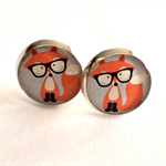 Hipster Fox Resin Silver Post Earrings
