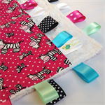 ZEBRA SPOTS ~ Baby  Security Blanket Blankie Taggie Toy + Free Taggie Saver