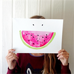 Watermelon summer smile watercolour and ink pen illustration art print