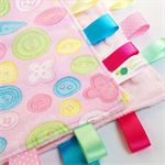 FREE POST * CUTE AS A BUTTON Baby Security Blanket Taggie Toy + FREE Taggy Saver