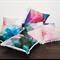 Dreamy Blue Botanical Cushion Cover – pom pom trim, flower, blossom, blue, pink,