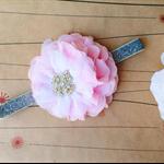 PINKY SPARKLE -  pink flower on silver glitter headband