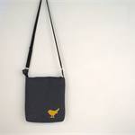 Across body handbag. Quality  upholstery fabric with Mustard suede bird detail