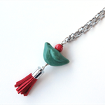 Green Bird pendant and chain necklace