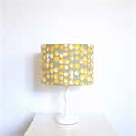 Yellow grey and white fabric covered table/floor lampshade, ceiling pendant