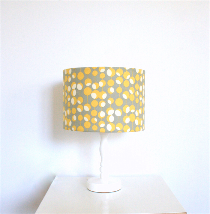 Yellow Grey And White Fabric Covered Table Floor Lampshade Ceiling Pendant