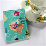 Tea Bag Wallet - Pastel Teabags on Teal with green flowers