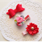 Set of 3 Baby / Girls Clip / Clips / Bows -  Red Blooms