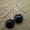 Fused Glass Danglies Earrings ~ Black ~ Sterling Silver