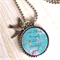Wonderful World Resin Antique Silver Necklace