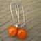 Orange Sterling Silver  Fused Glass Long Danglies Earrings