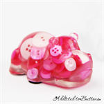 Harry Hippo - Pink Mix - Paperweight / Ornament - Solid Button Filled Resin