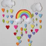 Rainbow and Hearts Set of 3 nursery/baby mobile