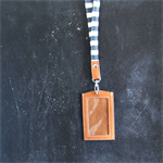 Nautical Navy Lanyard ID holder/ blue and off white canvas and leather