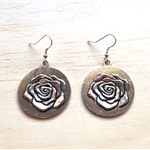 LARGE SILVER ROSE DISC EARRINGS - FREE SHIPPING WORLDWIDE