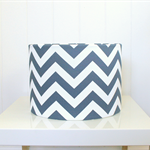 Navy + white chevron print fabric lampshade, home decor, ceiling pendant