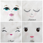 Embroidered Doll Face - Lola - Muslin