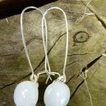 White Sterling Silver  Fused Glass Long Danglies Earrings